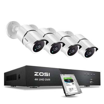 8-Channel 4K 8MP 2TB Hard Drive DVR Surveillance System with 4 Wired Bullet Cameras