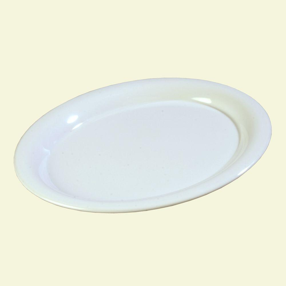 9 in. x 12 in. Melamine Oval Platter in White (Case