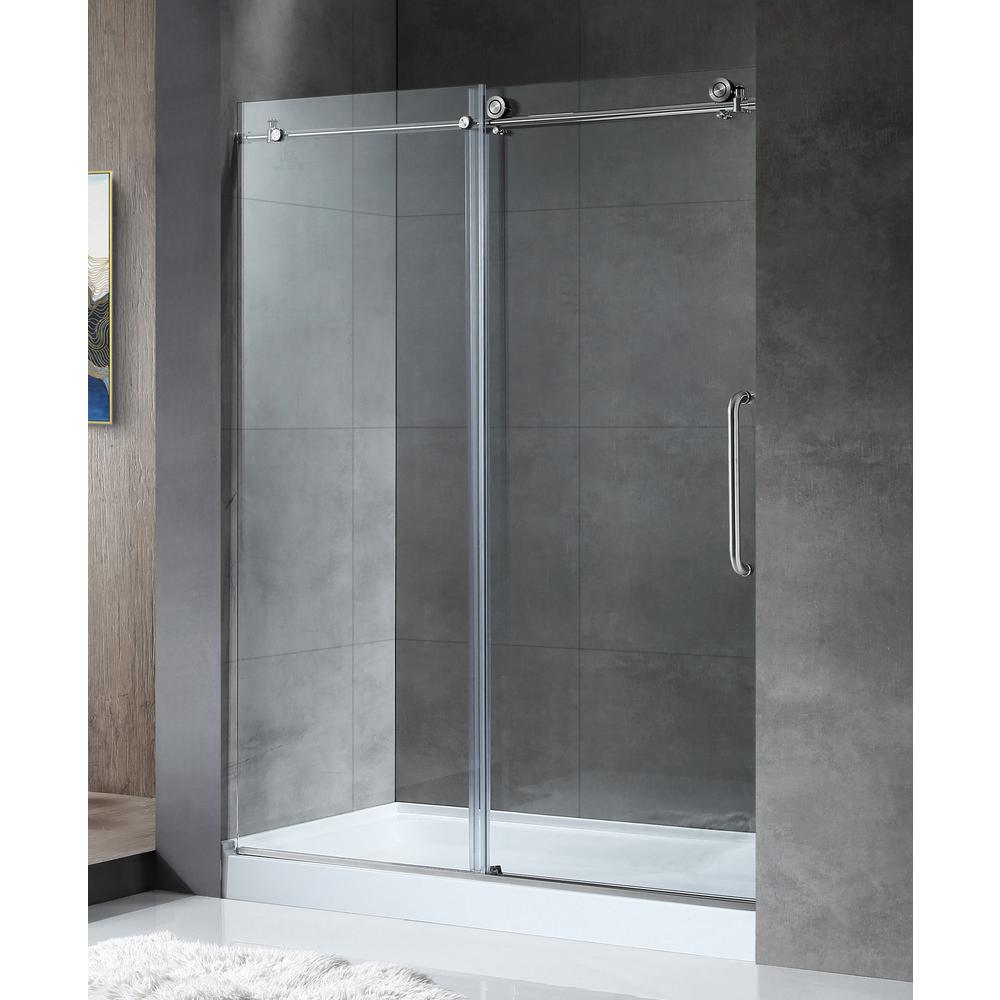 Anzzi Madam Series 48 In By 76 In Frameless Sliding Shower Door In Brushed Nickel With Handle