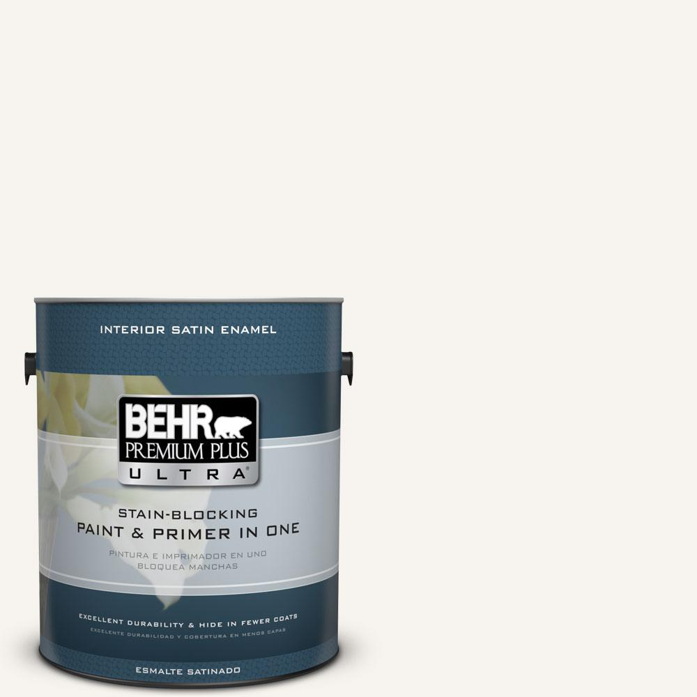 1 gal. #75 Polar Bear Satin Enamel Interior Paint and Primer