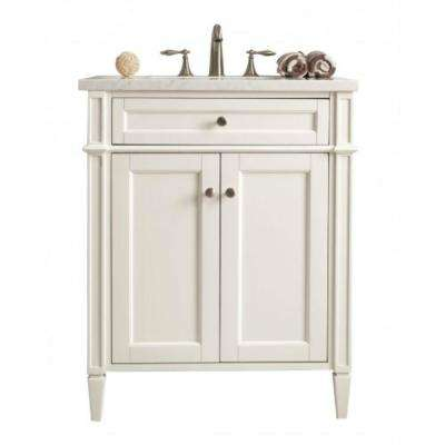 New Brittany 30 in. W Single Bath Vanity in Cottage White with Solid Surface Vanity Top in Arctic Fall with White Basin