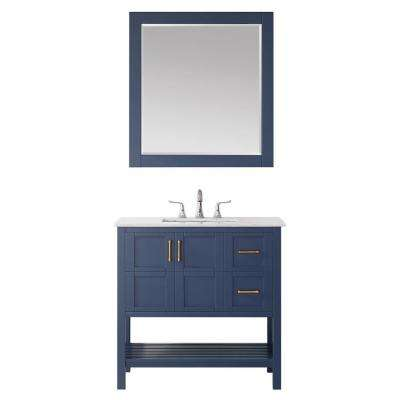 """Florence 36"""" Vanity in RoyalBlue with Carrara White Marble Countertop With Mirror"""