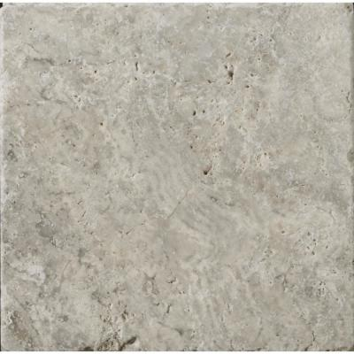 Trav Ancient Tumbled Silver 3.94 in. x 3.94 in. Travertine Wall Tile