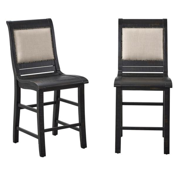 Willow Distressed Black Upholstered Counter Chairs (2-Count)