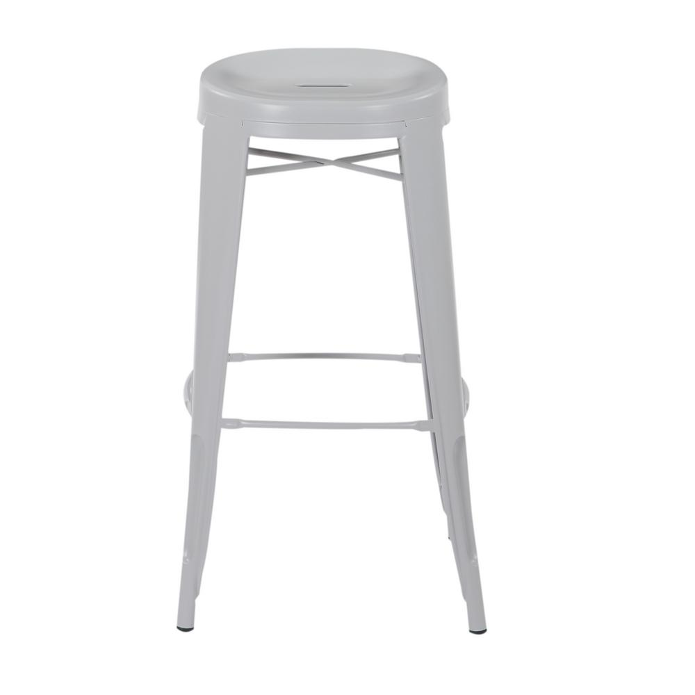 OSP Home Furnishings Stockton 30 in. Barstool in Grey (2 per Carton), Gray Steel Finish The Stockton 30 in. Barstool is the definition of casual sitting. This backless style stool comes fully assembled and is stackable for convenience. Perfect for house guests when throwing dinner parties or simply relaxing at home. Color: Gray Steel Finish.