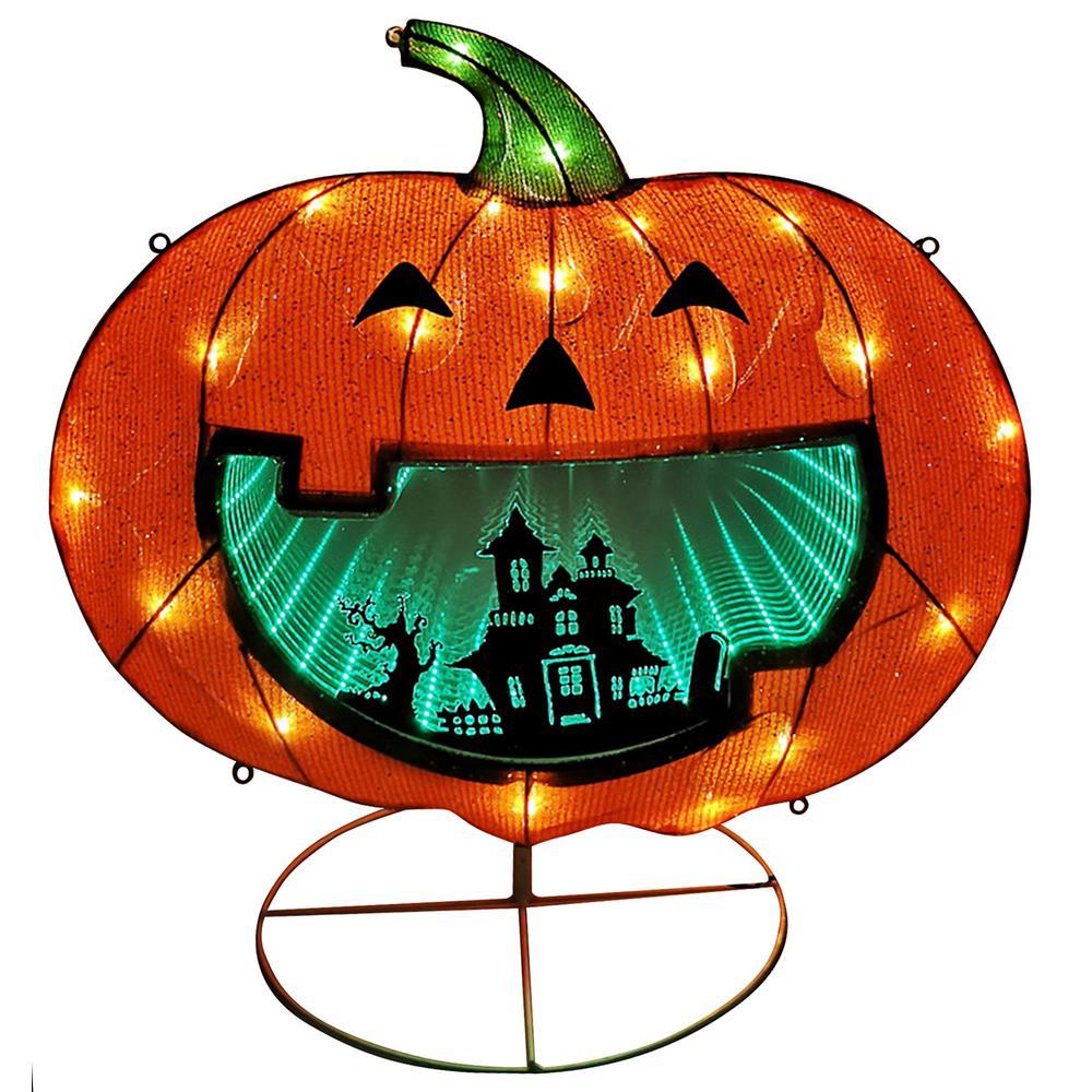 28 in. Lighted Halloween Pumpkin with Infinity Mirror