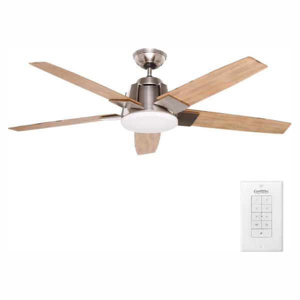 Zudio 56 in. Integrated LED Indoor Brushed Nickel Ceiling Fan with Universal Wall Control