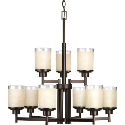 Alexa Collection 9-Light Antique Bronze Chandelier with Etched Umber Linen Glass Shade