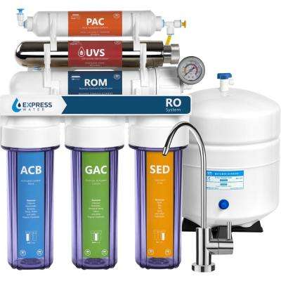Ultraviolet Under Sink Reverse Osmosis Water Filtration - 6 Stage UV w/ Faucet and Tank - 100 GPD w/ Clear Housing