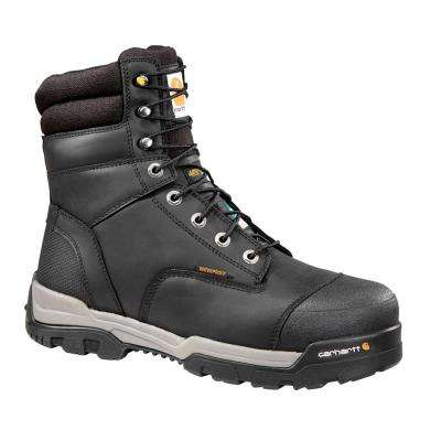 Puncture Resistant Men's 08.5W Black Leather Ground Force Waterproof Composite Safety Toe 8-inch Work Boot CMR8959