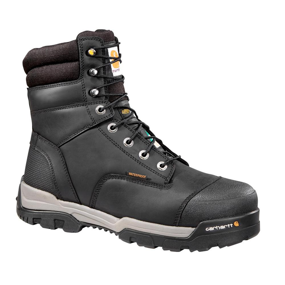 46b68c8ca6c Carhartt Puncture Resistant Men's 10W Black Leather Ground Force Waterproof  Composite Safety Toe 8 in. Work Boot