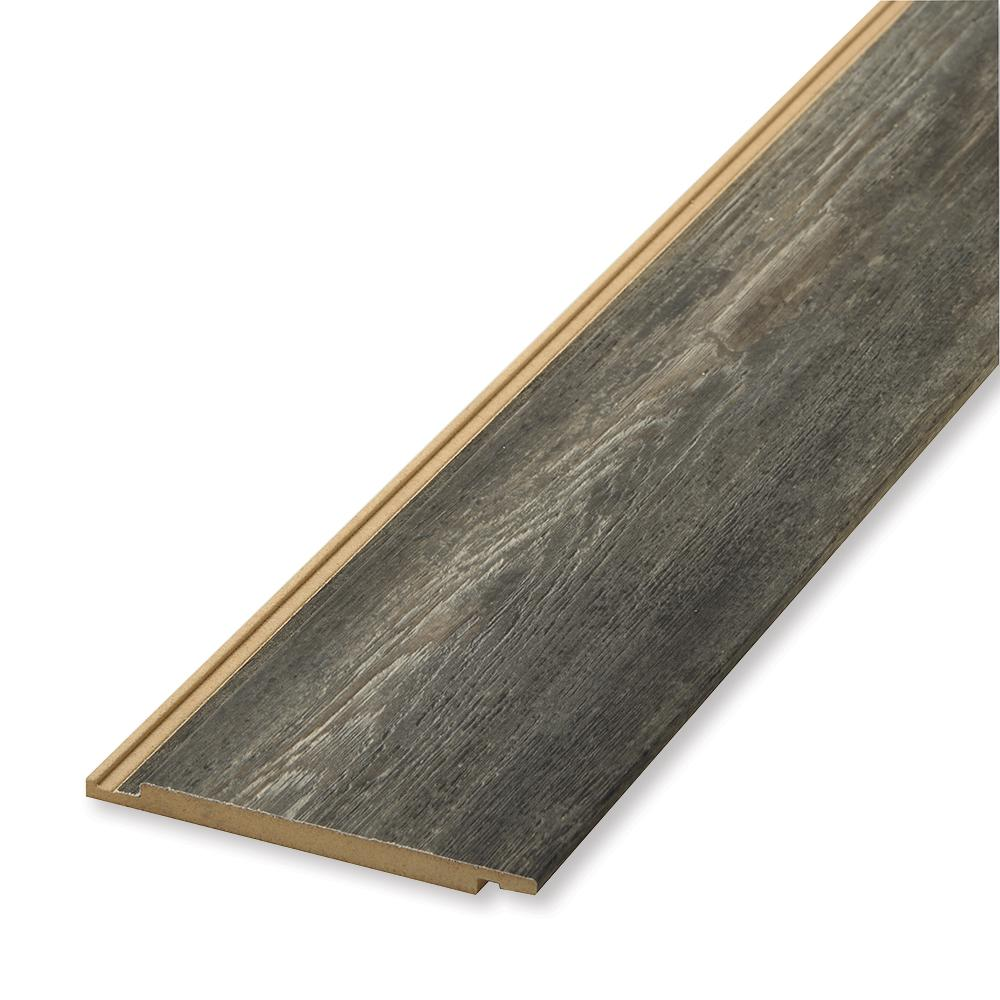 null 1 in. x 6 in. x 96 in. Weathered Gray MDF Shiplap Panel