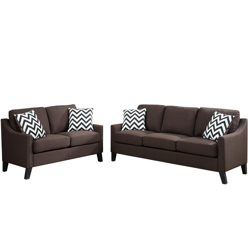 Venetian Worldwide Gargano 2-Piece Chocolate Sofa Set-VENE-F6907 ...