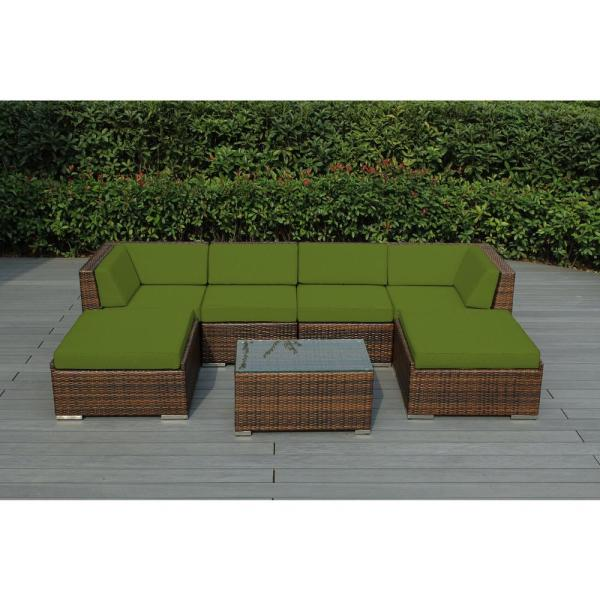 Ohana Mixed Brown 7-Piece Wicker Patio Seating Set with Sunbrella Macaw Cushions