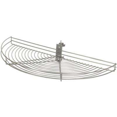 3.25 in. H x 24.5 in. W x 11.69 in. D Pivot-Out Half Moon Frosted Nickel Wire Lazy Susan