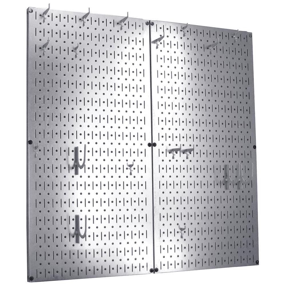 Kitchen Pegboard 32 in. x 32 in. Steel Peg Board Pantry Organizer Kitchen Pot Rack Metallic Pegboard and White Peg Hooks