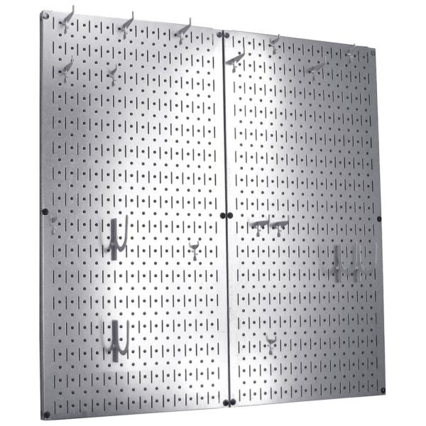 Kitchen Pegboard 32 in. x 32 in. Steel Peg Board Pantry Organizer Kitchen Pot Rack Metallic Pegboard and White Peg Hooks
