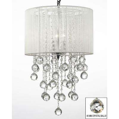 Empress Crystal 3-Light Chandelier with Shade and Faceted Crystal Balls