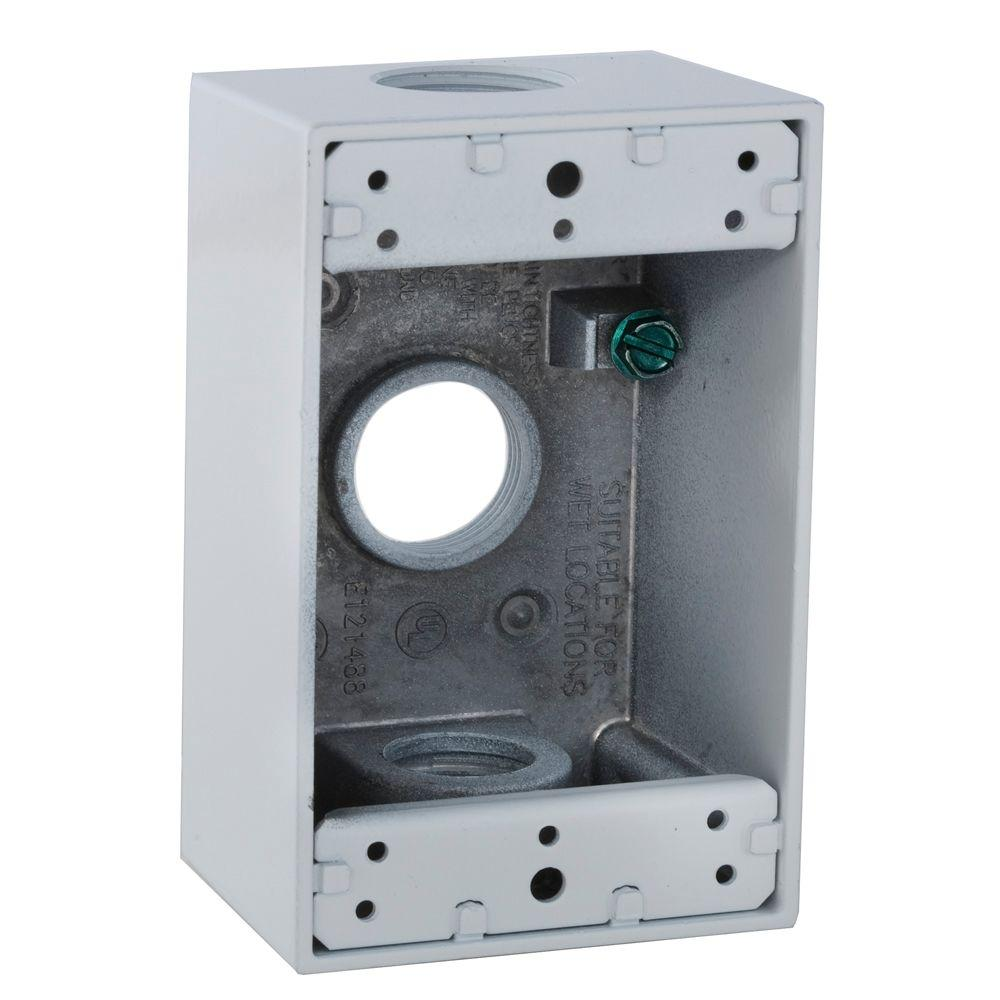 4 4 Weatherproof Electrical Box: BELL 1 Gang Weatherproof Box With Three 3/4 In. Outlets