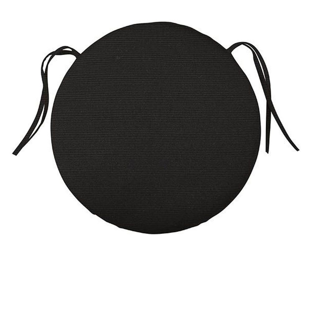 null Sunbrella Black Round Outdoor Seat Cushion