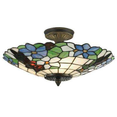 Pansy 3-Light Antique Brass Semi-Flush Mount Light with Art Glass Shade
