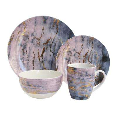 16-Piece Casual Purple and Gold Ceramic Dinnerware Set (Service for 4)