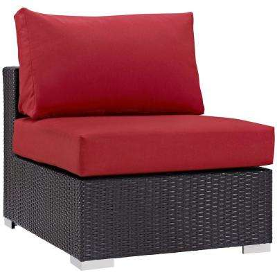Convene Patio in Espresso Wicker Armless Middle Outdoor Sectional Chair with Red Cushions