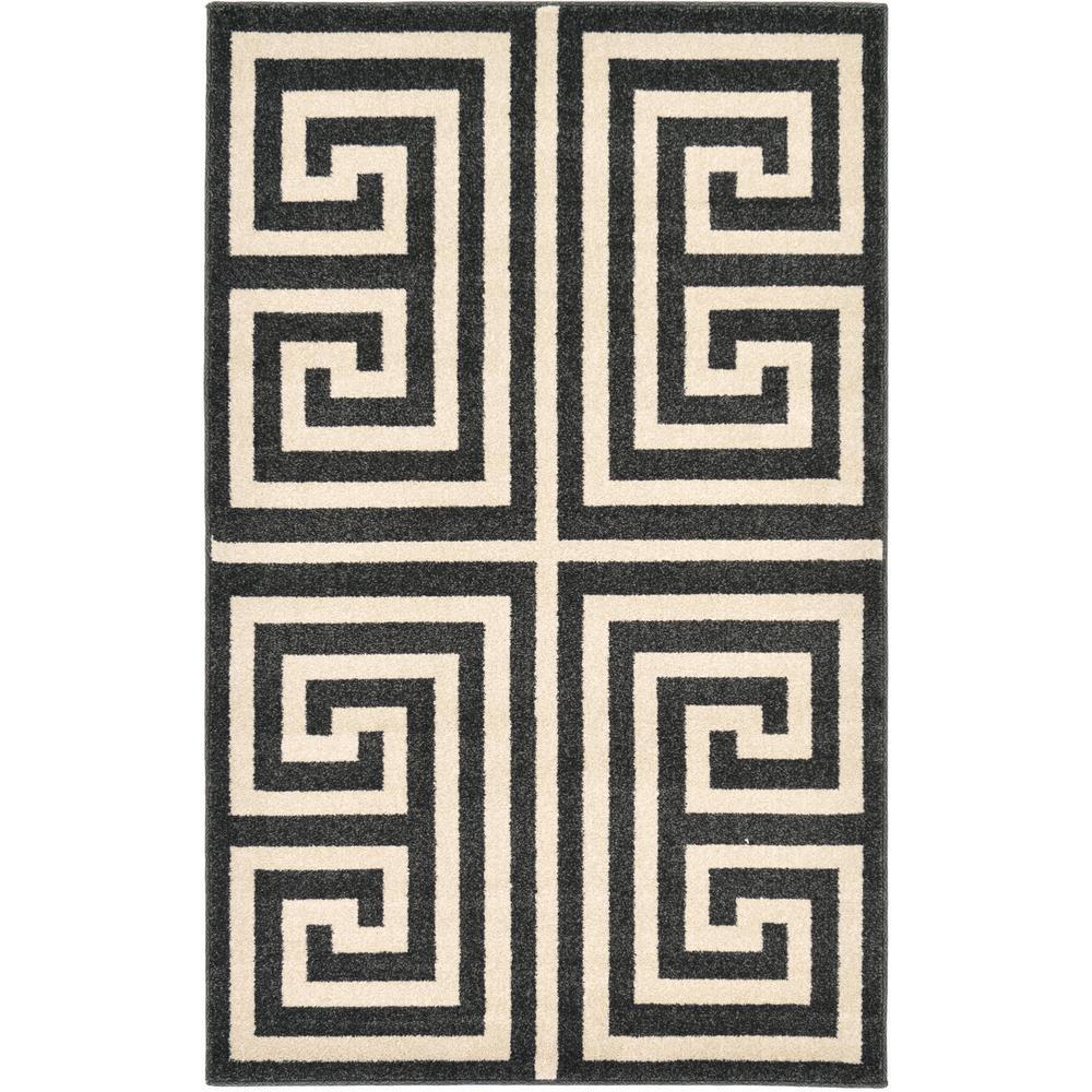 Unique Loom Athens Greek Key Black 3