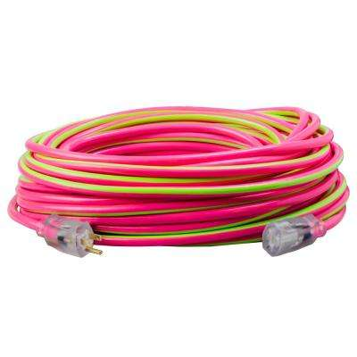 100 ft. 12/3 SJTW Hi-Visbility Multi-Color Outdoor Heavy-Duty Extension Cord with Power Light Plug