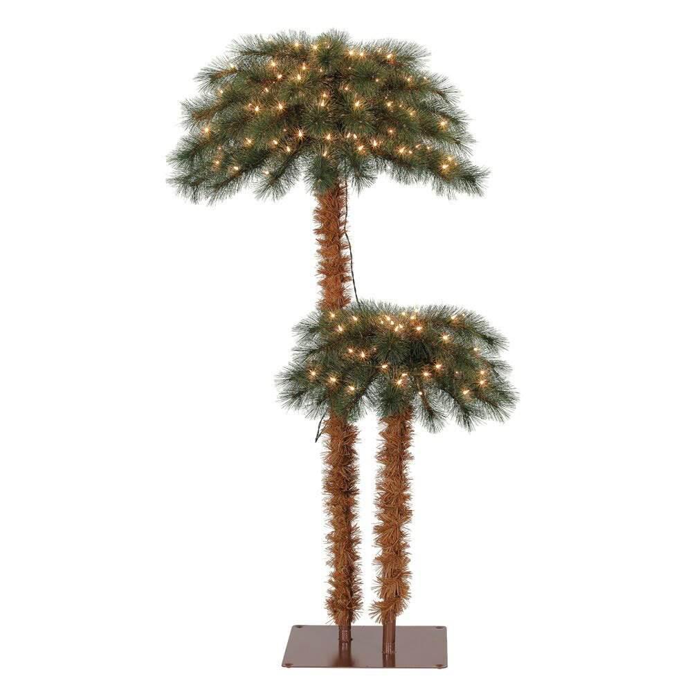 Pre-Lit Artificial Tropical Christmas Palm Tree w/ White Lights