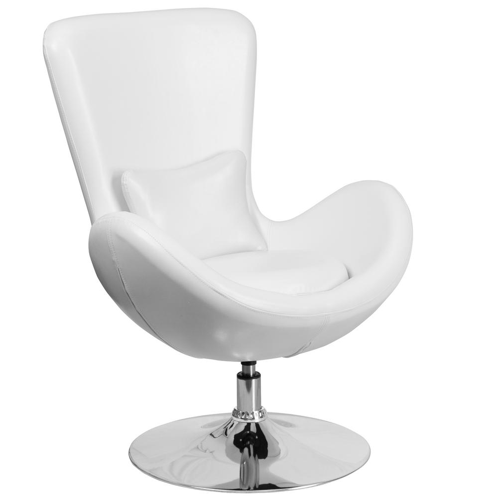 FLASH White Leather Egg Series Reception-Lounge-Side Chair