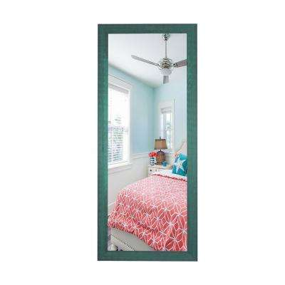 63.5 in. x 25.5 in. Country Cottage Aqua Framed Non Beveled Tall Mirror