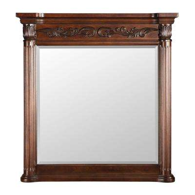 Estates 38 in. L x 36 in. W Wall Mirror in Rich Mahogany