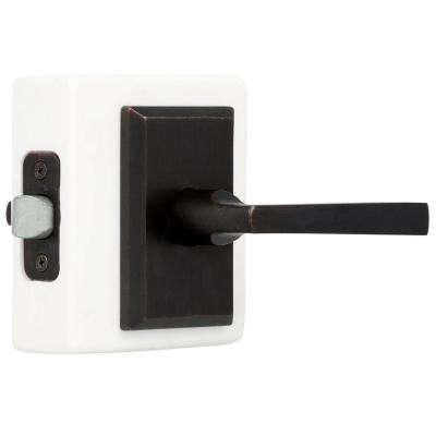 Reserve Taper Dark Bronze Hall/Closet Door Lever with Rustic Square Rose