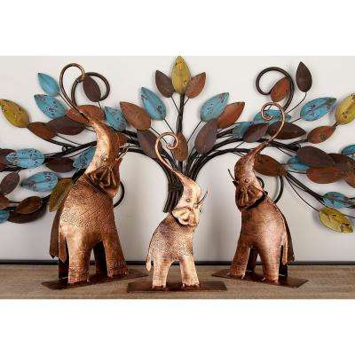 Elephant Decorative Figurine in Bronze Gold Etched Iron (Set of 3)