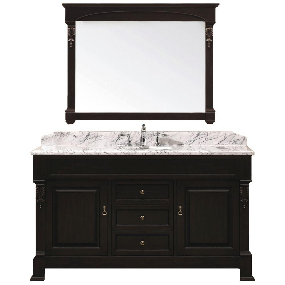 Virtu USA Huntshire 60 in. Single Basin Vanity in Dark Walnut with Marble Vanity Top in Italian Carrera and Mirror