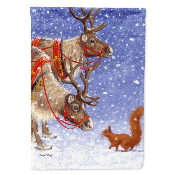 Caroline S Treasures 28 In X 40 In Polyester Reindeers Squirrel Flag Canvas House Size 2 Sided Heavyweight Asa2016chf The Home Depot