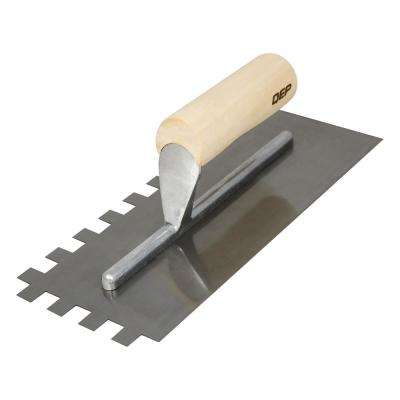 1/2 in. x 1/2 in. x 1/2 in. Traditional Carbon Steel Square-Notch Flooring Trowel with Wood Handle