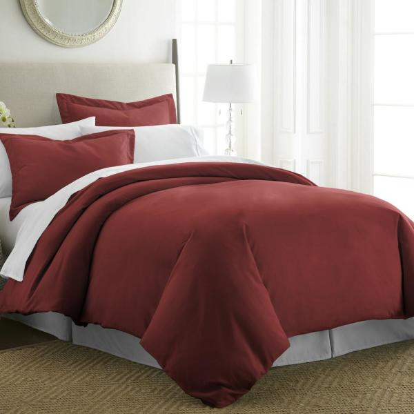 Performance Burgundy Twin 3-Piece Duvet Cover Set