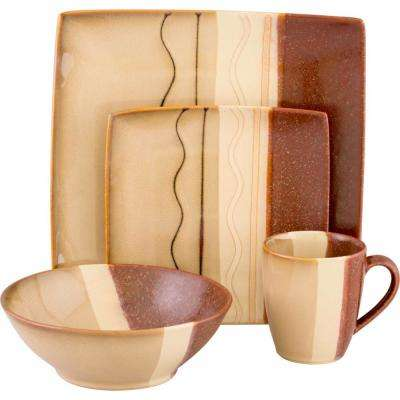Zanzibar 16-Piece Brown Dinnerware Set