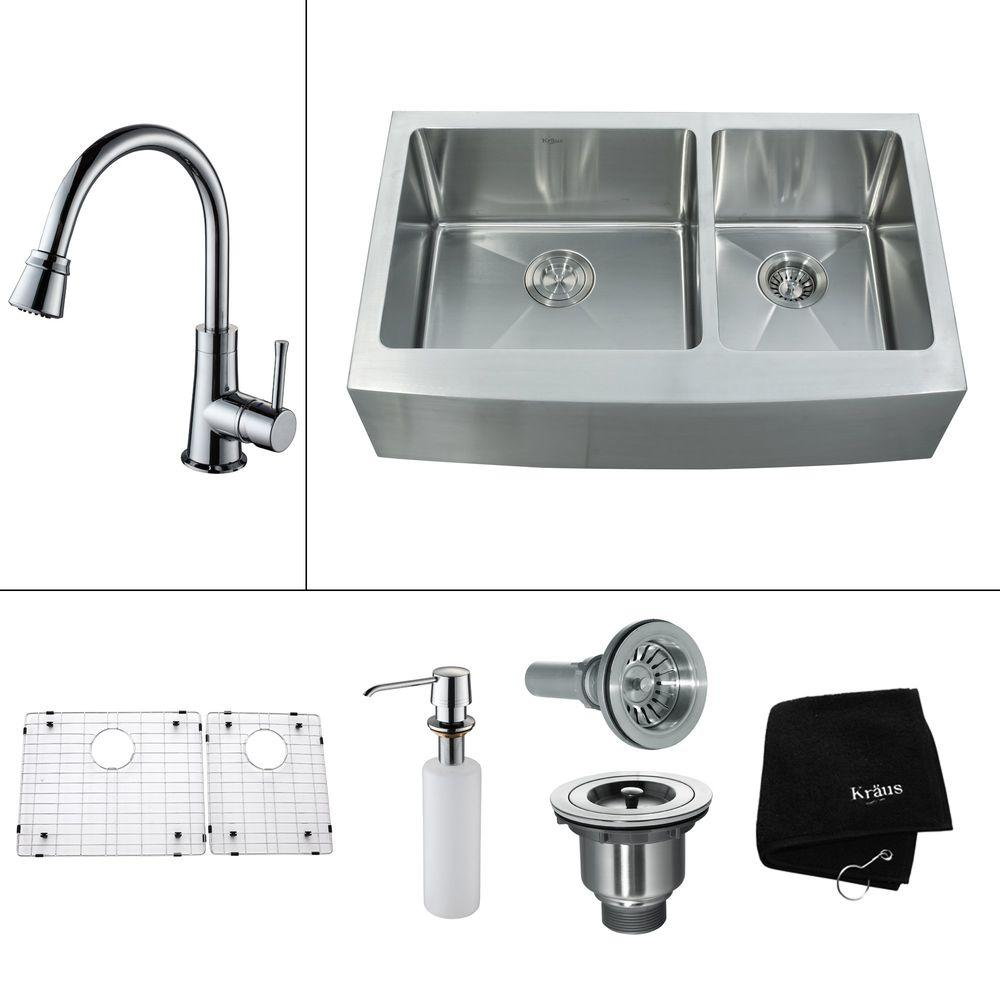KRAUS All-in-One Farmhouse 35.9x20.75x13.5 0-Hole Double Bowl Kitchen Sink with Chrome Accessories