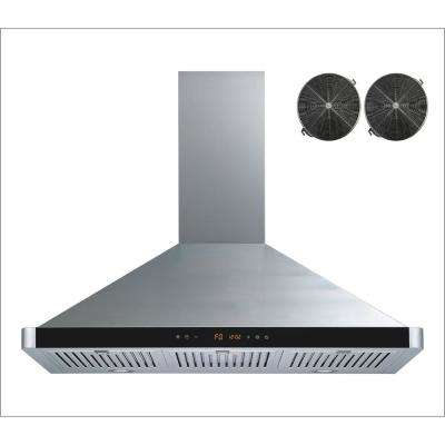36 in. Convertible Wall Mount Range Hood in Stainless Steel with Baffle Filters, Touch Control and Carbon Filters