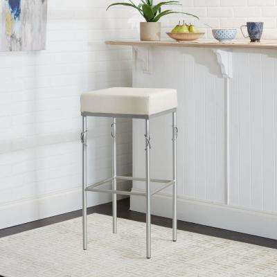 Gwyneth 24 in. Upholstered White and Silver Square Backless Metal Barstool