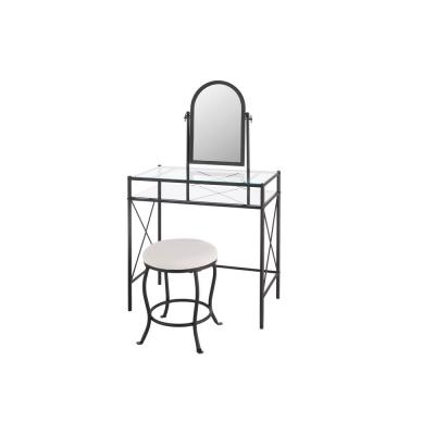 StyleWell Black Metal Vanity Set with Ivory Upholstered Stool (32.05 in W. X 52.76 in H.)