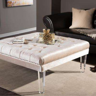 Edna Square Contemporary Beige Fabric Upholstered Ottoman