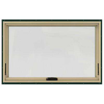 48 in. x 30 in. W-2500 Series Green Painted Clad Wood Awning Window w/ Natural Interior and Screen