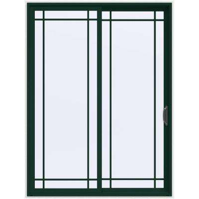 72 in. x 96 in. V-4500 Contemporary Green Painted Vinyl Right-Hand 9 Lite Sliding Patio Door w/White Interior