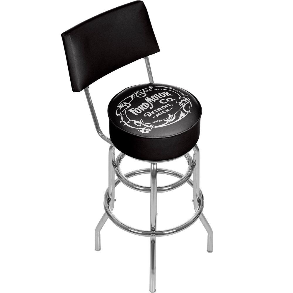 Marvelous Vintage 1903 Motor Company 31 In Chrome Swivel Cushioned Bar Stool Gamerscity Chair Design For Home Gamerscityorg
