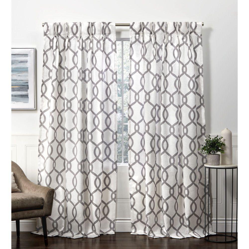 Kochi HT 54 in. W x 84 in. L Linen Blend Hidden Tab Top Curtain Panel in Black Pearl (2 Panels)