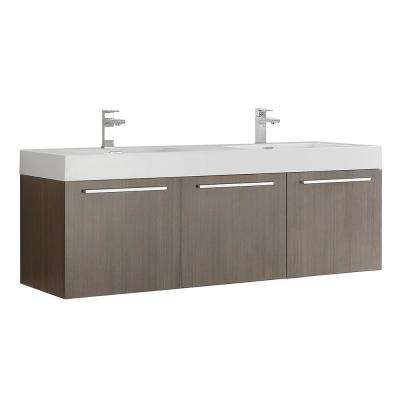 Vista 48 in. Modern Wall Hung Bath Vanity in Gray Oak with Double Vanity Top in White with White Basins